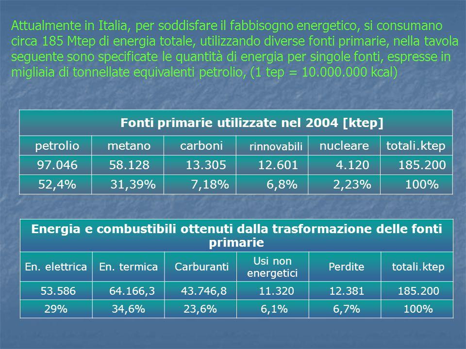 Fonti primarie utilizzate nel 2004 [ktep]